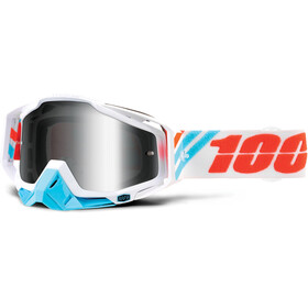 100% Racecraft Anti Fog Mirror Goggles hvid/turkis
